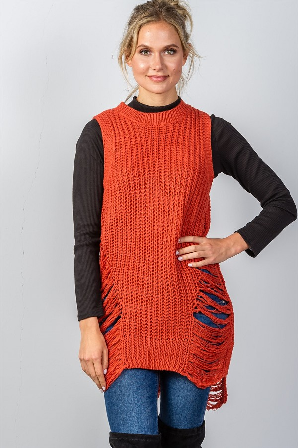 Ladies fashion round neckline sleeveless sweater knit distress sides ...