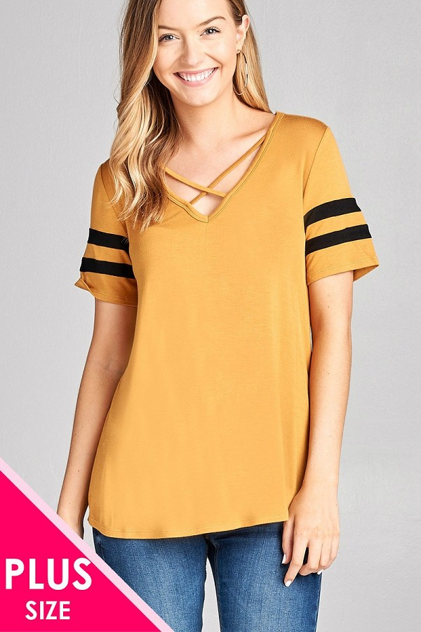 Ladies fashion plus size short sleeve double stripe v-neck w/cross strap rayon spandex top-id.CC35562