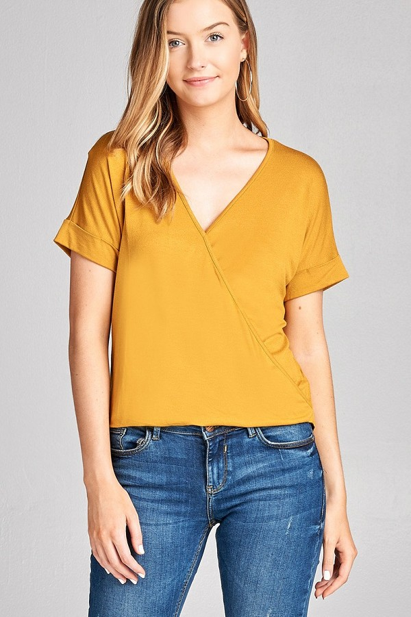 Ladies fashion short sleeve surplice v-neck rayon spandex crepe top-id.CC35563b