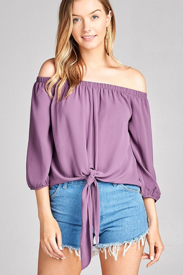 Ladies fashion 3/4 sleeve off the shoulder front self-tie crepe woven top-id.CC35616e