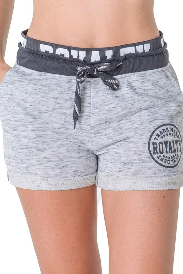 Ladies fashion french terry drawstring cuffed shorts with applique-id.CC35619c
