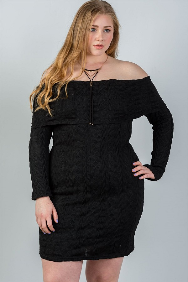 Ladies Fashion Plus Size Off The Shoulder Black Ribbed Long Sleeve