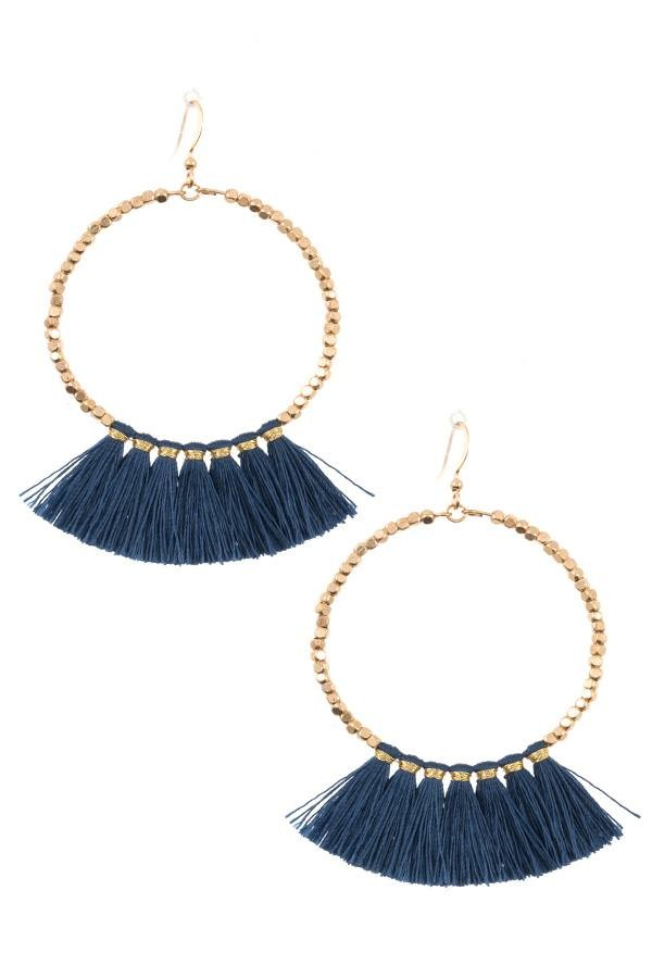 Ladies fashion round tassel link dangle earring -id.CC35664