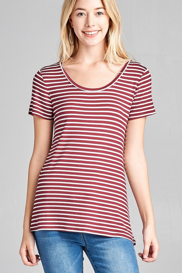 Ladies fashion short sleeve scoop neck stripe rayon spandex top-id.CC35692e