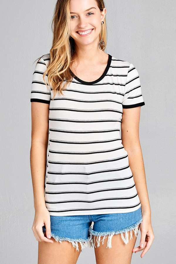 Ladies fashion short sleeve round neck yarn dye stripe rayon spandex jersey top-id.CC35693c
