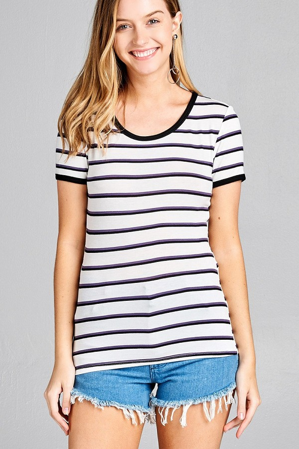 Ladies fashion short sleeve round neck yarn dye stripe rayon spandex jersey top-id.CC35693f