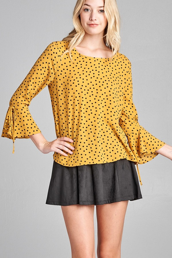 Ladies fashion 3/4 w/bell sleeve round neck dot print crepe woven top-id.CC35696