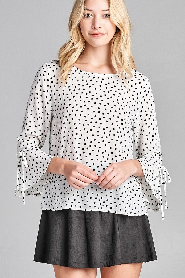 Ladies fashion 3/4 w/bell sleeve round neck dot print crepe woven top-id.CC35696b