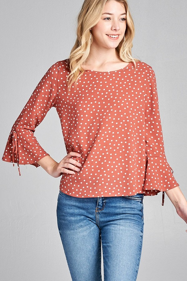 Ladies fashion 3/4 w/bell sleeve round neck dot print crepe woven top-id.CC35696c