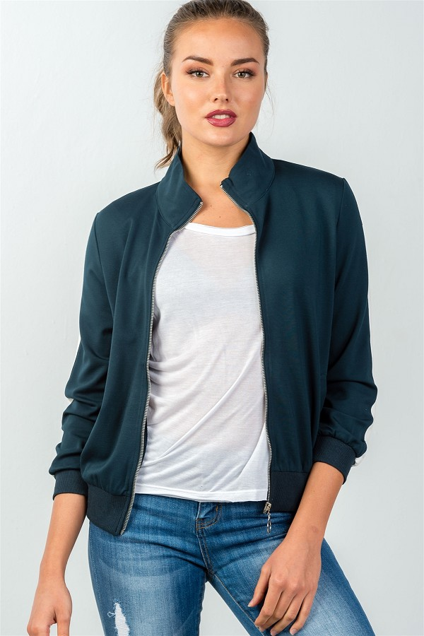 Ladies fashion forest green one striped sleeve track zip-up jacket-id.CC35697