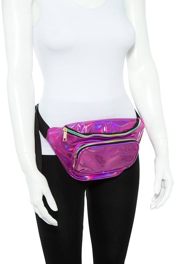 Ladies fashion holographic shiny fanny pack-id.CC35715