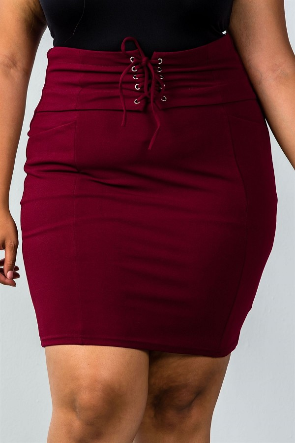 Ladies fashion plus size self tie lace up pencil mini skirt-id.CC35729