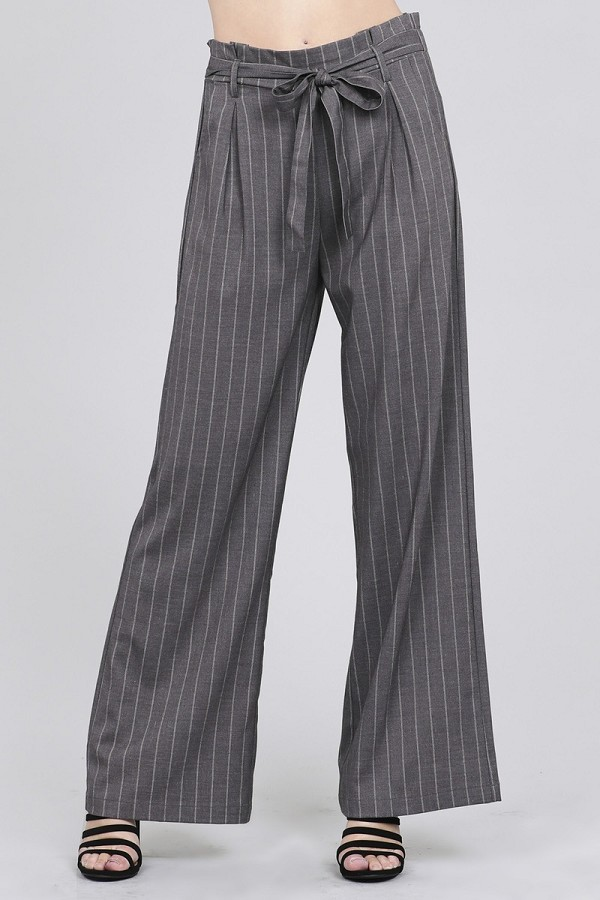Ladies fashion high waist w/self belt long leg wide pinstripe woven pants-id.CC35746