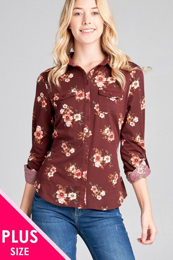 Ladies fashion plus size 3/4 roll up sleeve front pocket detail flower print stretch knit shirts-id.CC35772a