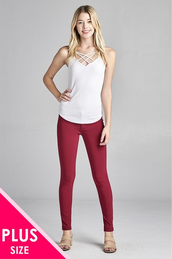 Ladies fashion plus size basic 5 pocket shape long pants-id.CC35774m