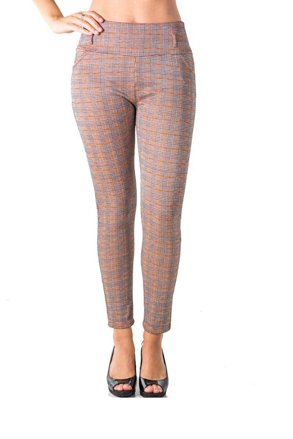 Ladies fashion casual plaid stretch trouser pants-id.CC35795a