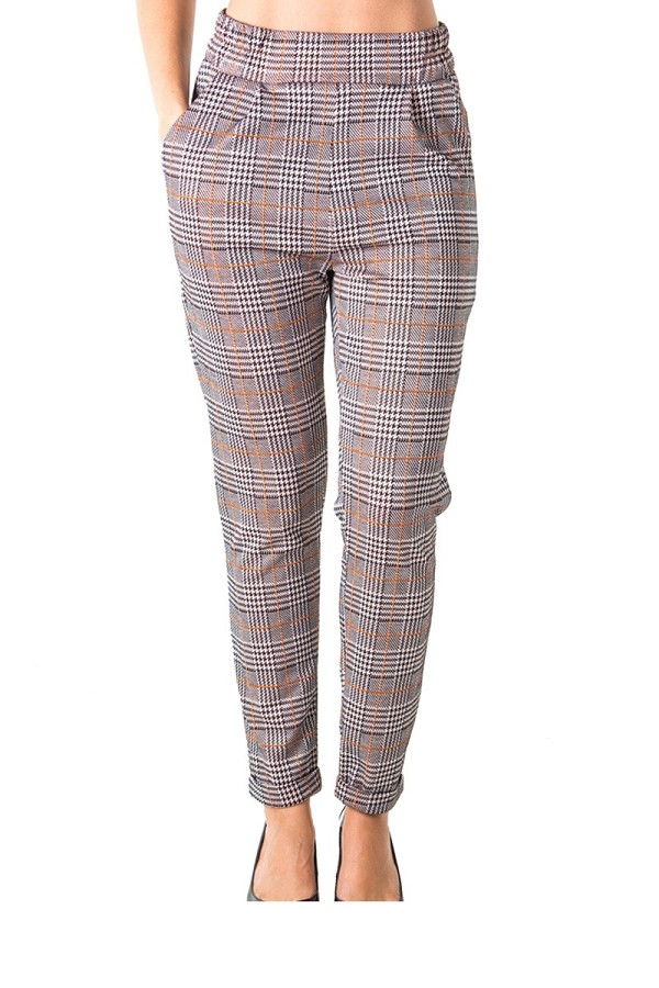 Ladies fashion casual plaid trouser pants, stretch, elastic waist, cuffed folded ankle & 2 front pockets-id.CC35796a