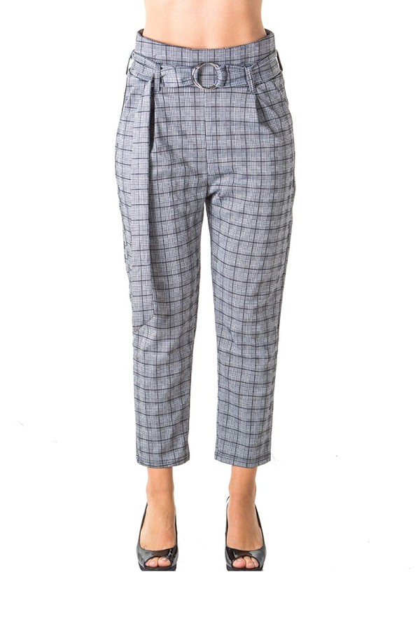 Ladies fashion casual belted plaid pants, stretch, wide & elastic high waist, 2 front pockets-id.CC35797
