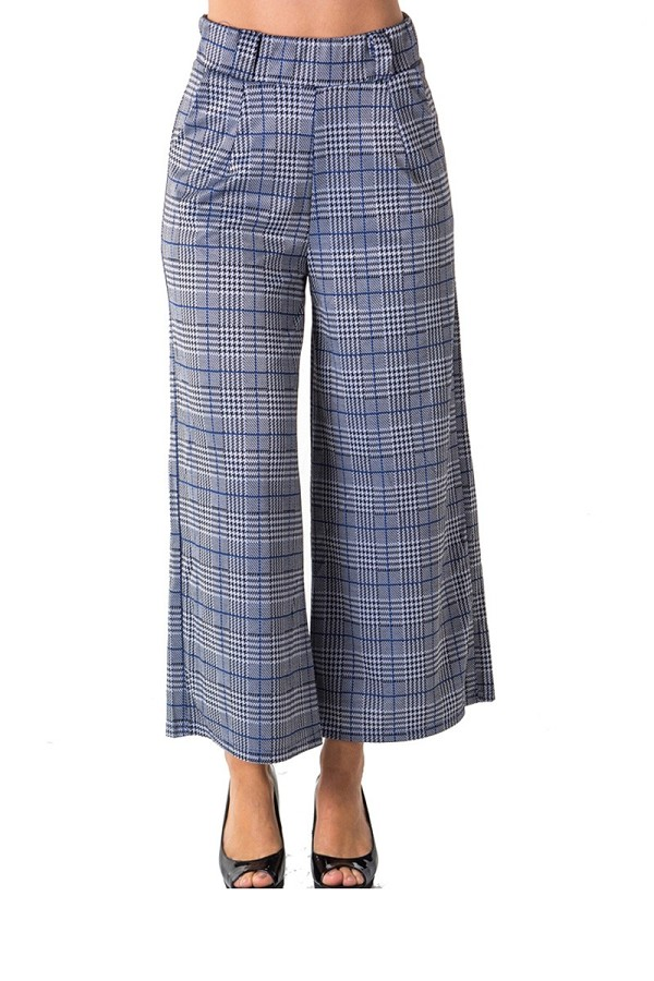 Ladies fashion casual plaid pants, high waist, wide leg & 2 front pockets-id.CC35798