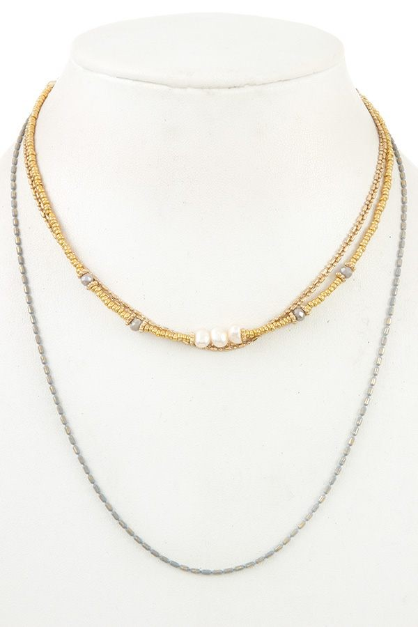 Multi row small bead necklace-id.CC35802