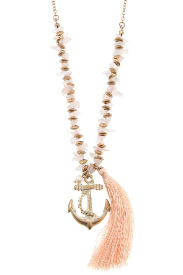 Anchor tassel pendant chipped gem necklace set id35805 aloadofball Gallery