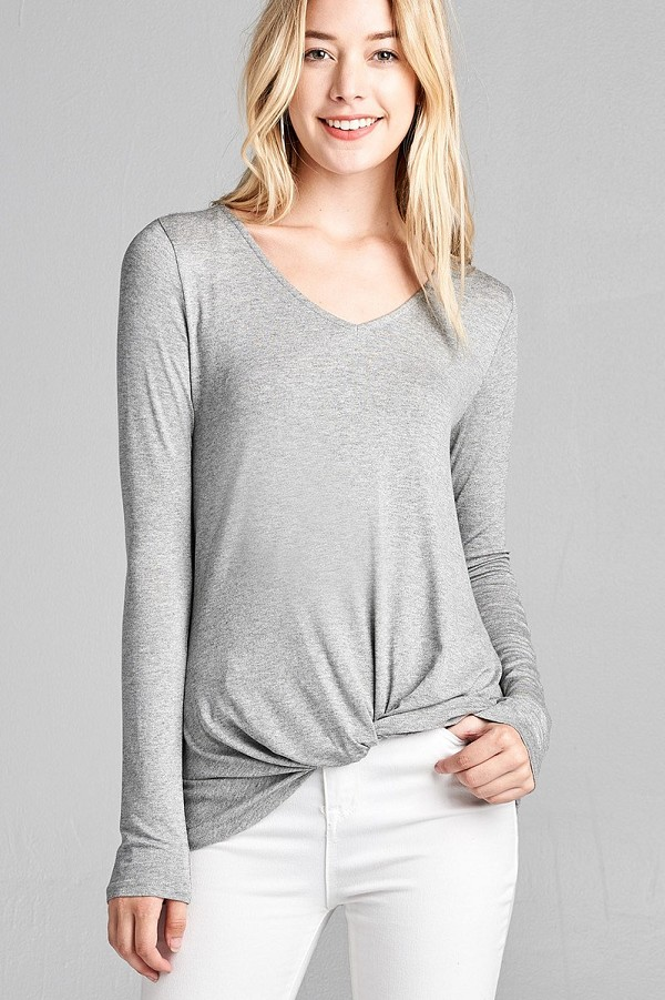 Ladies fashion long sleeve v-neck front twisted rayon spandex crepe top-id.CC35853e