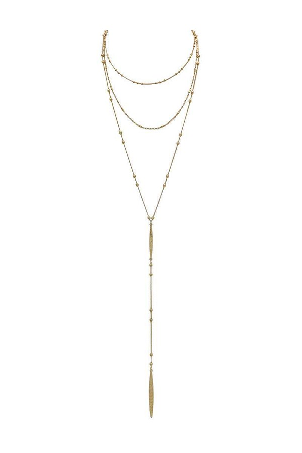 Metal beaded y shape multi layered necklace-id.CC35879
