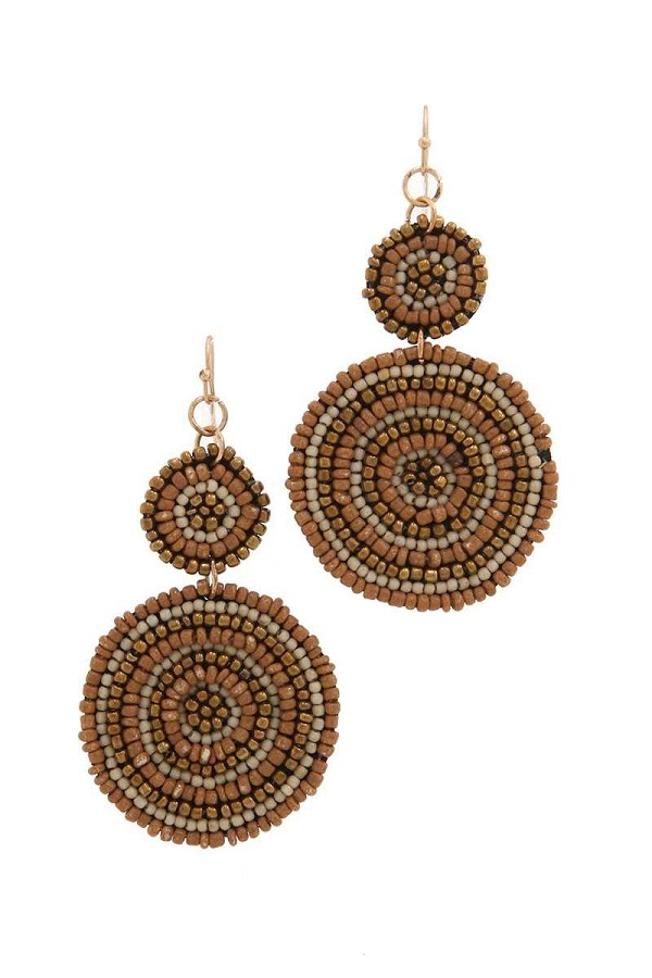 Double circle beaded drop earring-id.CC35901
