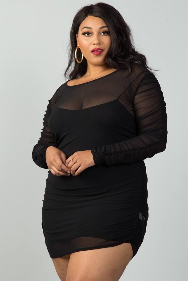 Ladies Fashion Plus Size Long Sleeves Sheer Mesh Ruched Mini Dress