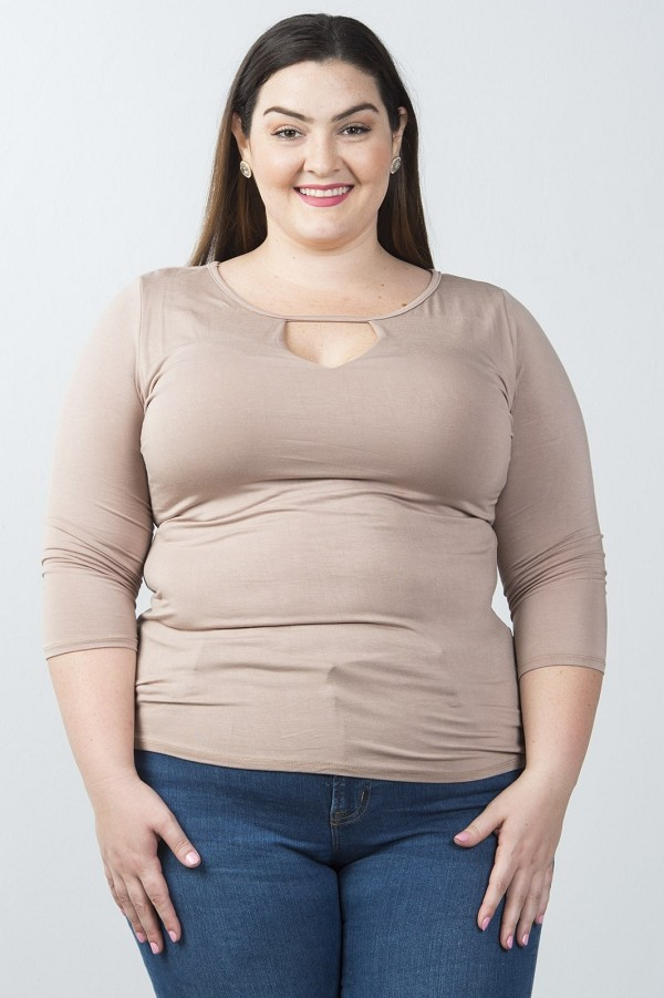 Ladies fashion plus size scoopneck keyhole casual top-id.CC35923b