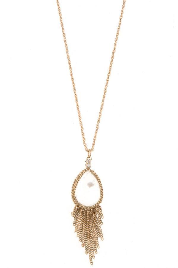 Gem teardrop chain fringe pendant necklace id35946 aloadofball Choice Image