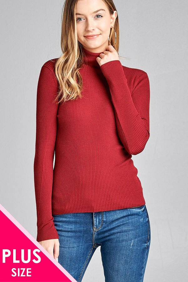 Ladies fashion plus size long sleeve turtle neck fitted rib sweater top-id.CC36063c