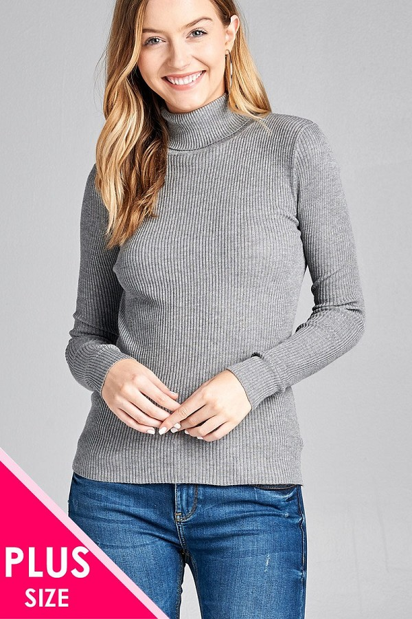 Ladies fashion plus size long sleeve turtle neck fitted rib sweater top-id.CC36063f