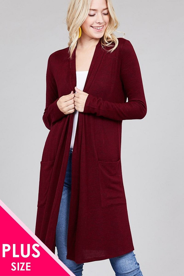Ladies fashion plus size long sleeve open front w/pocket brushed hacci cardigan-id.CC36282a