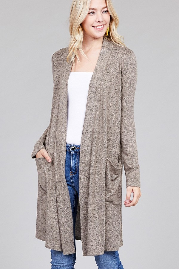 Ladies fashion long sleeve open front w/pocket brushed hacci cardigan-id.CC36284d