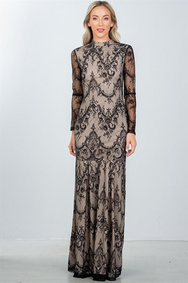 4e41c0b0629b Imágenes de Black High Neck Lace Maxi Dress With Open Back