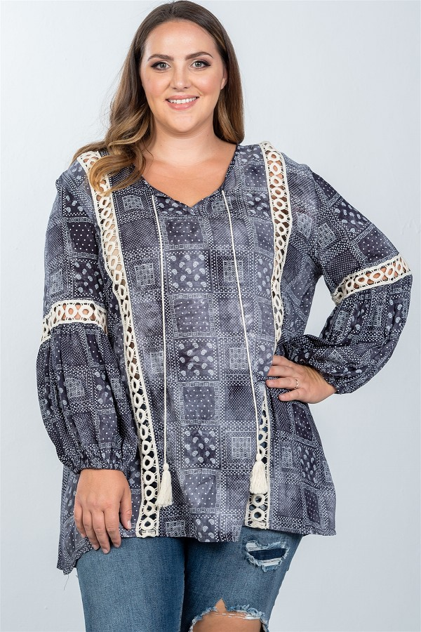 Ladies fashion plus size boho mix print tassel crochet trim top-id.cc36792