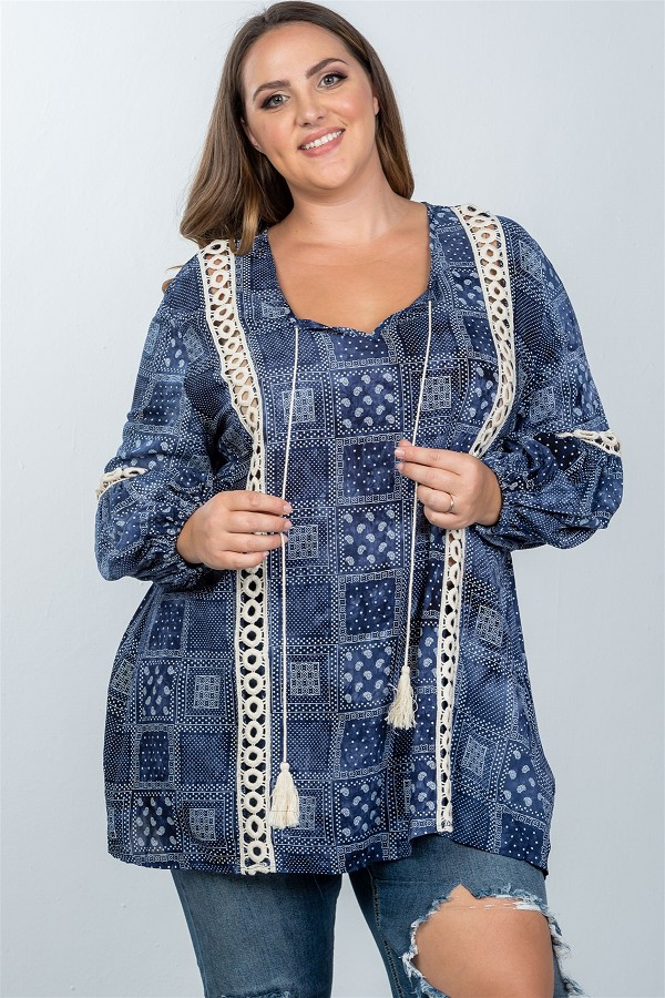 Ladies fashion plus size boho mix print tassel crochet trim top-id.cc36792a