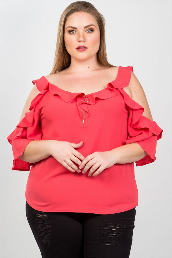Ladies fashion plus size cold shoulder ruffle zipper o-ring top-id.cc36797