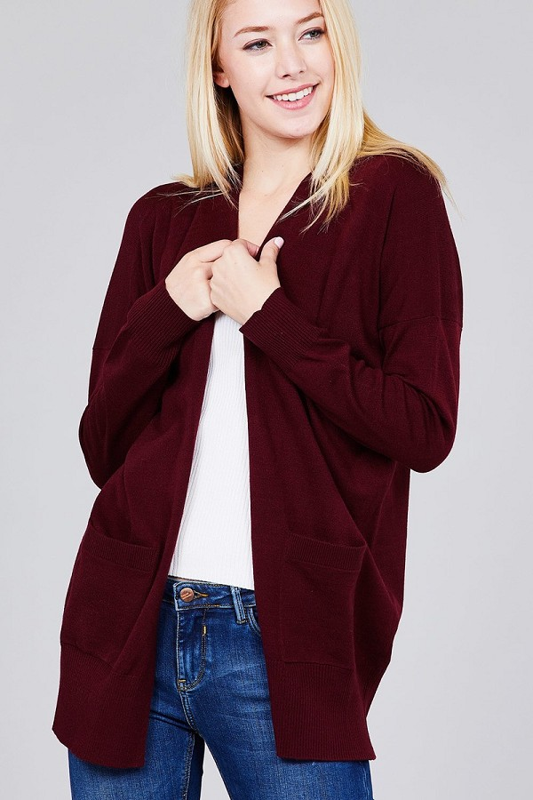 Ladies fashion long dolmen sleeve open front w/pocket sweater cardigan-id.cc36934c