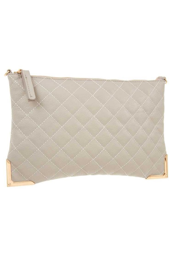 Faux leather quilted detailed clutch bag-id.cc36936