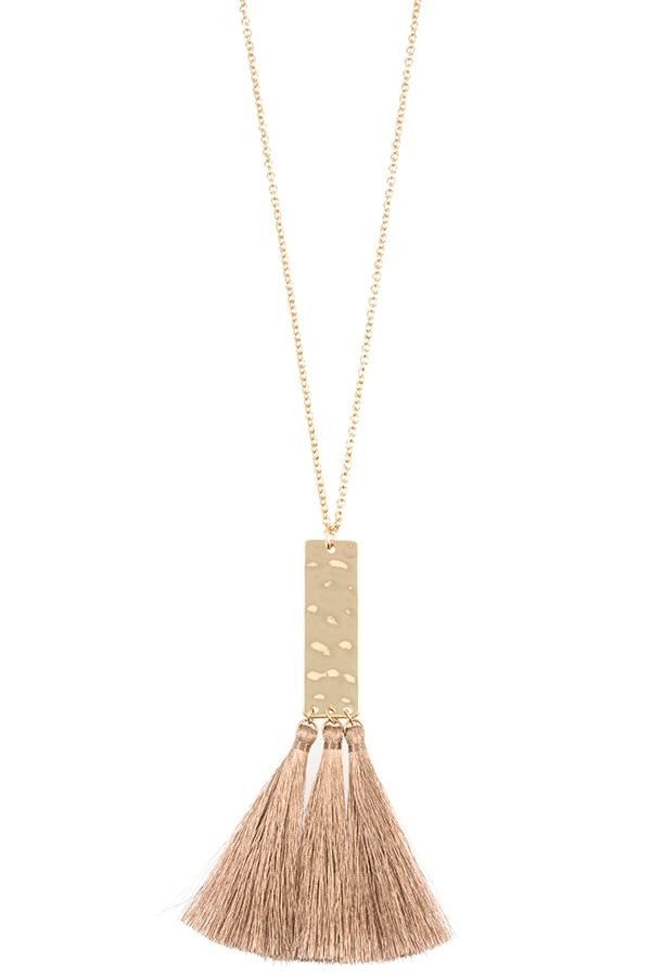 Elongated tassel pendant necklace-id.cc37023