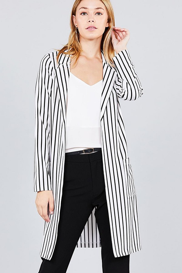Long sleeve notched collar open front striped long jacket-id.cc37061c