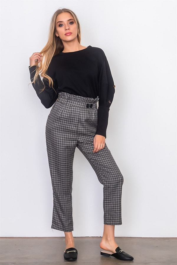 Grey and white plaid paper bag pants-id.cc37069