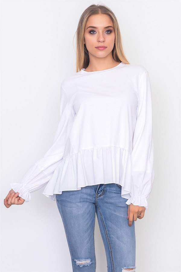 Contrast woven ruffle sleeve round neck top-id.cc37071b