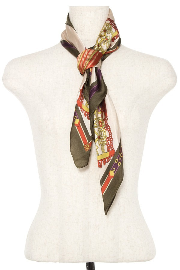 Mix pattern silk scarf-id.cc37080