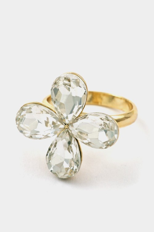 A flower colored stone adjustable ring-id.cc37190