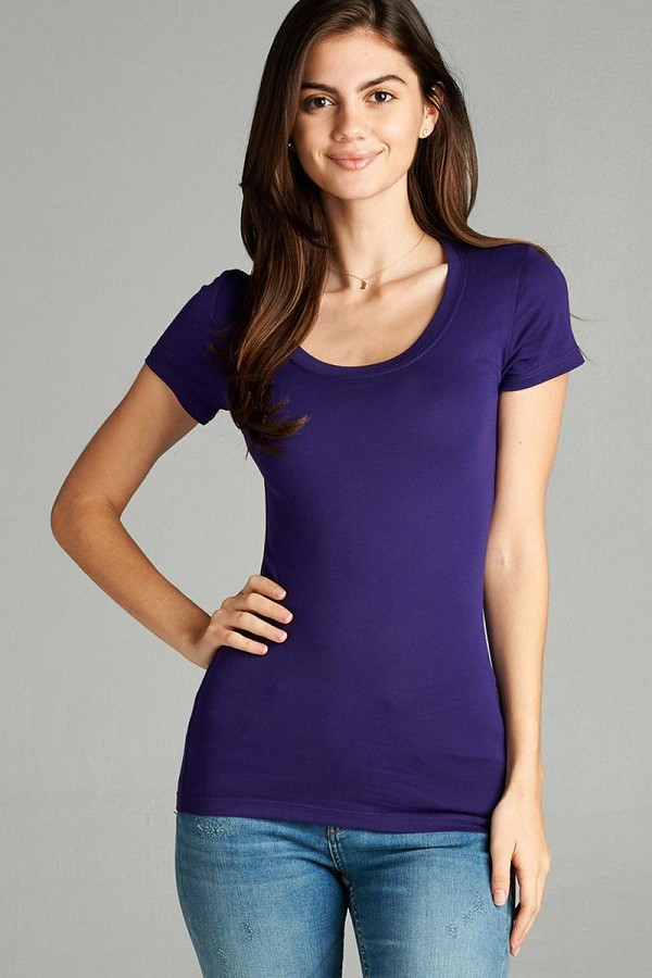 Basic short sleeve scoop-neck tee-id.cc37282cc