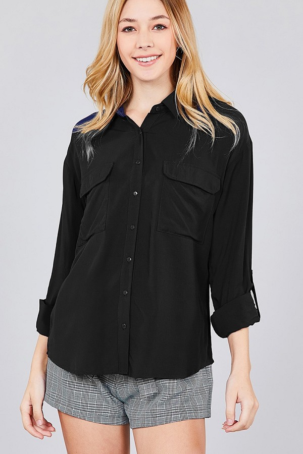 3/4 roll up sleeve chest flap pocket woven shirts-id.cc37284