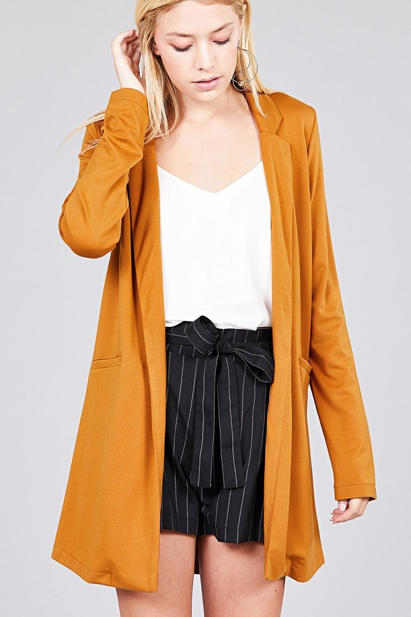 Long sleeve notched collar w/pocket tunic jacket-id.cc37285c